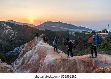 HONG KONG, CHINA - DEC 12: The surrounding view of 121m height Por Lo Shan December 12, 2016 in Tuen Mun, HK. It also named as Pineapple Mountain or Hong Kong Grand Canyon.