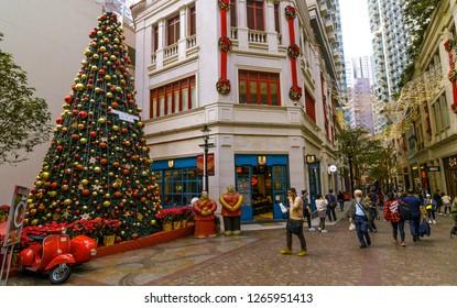 HONG KONG, CHINA - DEC 20: Christmas decorations in the streets on Dec 20, 2018 in Hong Kong, China. Hongkong is an international metropolis, Western culture has a strong.