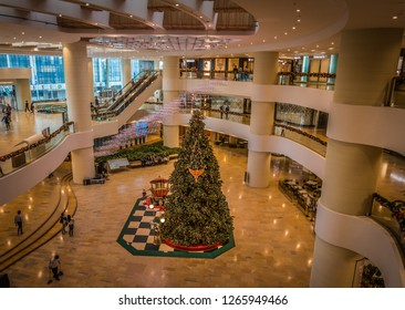 HONG KONG, CHINA - DEC 21: Christmas decorations in the streets on Dec 21, 2018 in Hong Kong, China. Hongkong is an international metropolis, Western culture has a strong.