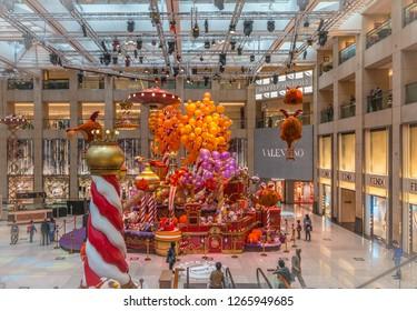 HONG KONG, CHINA - DEC 22: Christmas decorations in the streets on Dec 22, 2018 in Hong Kong, China. Hongkong is an international metropolis, Western culture has a strong.