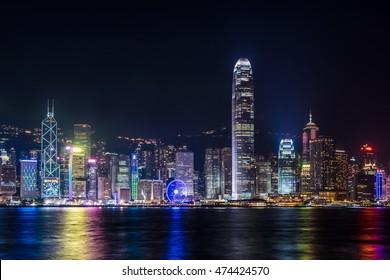HONG KONG, CHINA - DEC. 31, 2013: Nightview of Victoria Harbour in Hong Kong. (Hong Kong Island side view from Tsim Sha Tsui)