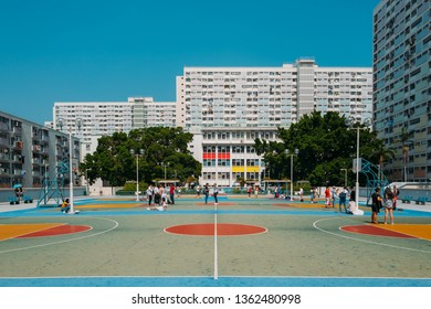 Hong Kong, China - December 17, 2018: Choi Hung is one of the oldest public housing estates built in the early 1960s in Kowloon, Hong Kong. It is one of the world's most densely populated cities.