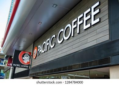 Hong Kong, China- December 18, 2018: Pacific Coffee cafe sign. Pacific Coffee Company is a Pacific Northwest U.S.- style coffee shop group originating from Hong Kong.