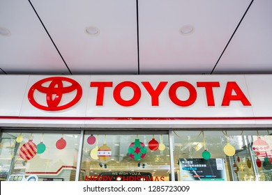 Hong Kong, China- December 18, 2018: The emblem Toyota logo on a facade. Toyota Motor Corporation is a Japanese automotive manufacturer headquartered in Toyota, Aichi, Japan.