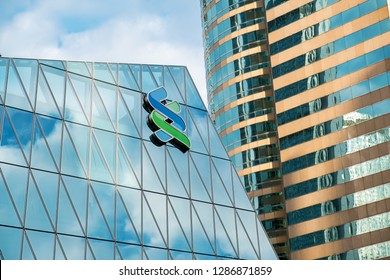 Hong Kong, China- December 18, 2018: Standard Chartered in Hong Kong. Standard Chartered is a British company that operates more than 1,200 branches and outlets in more than 70 countries worldwide.