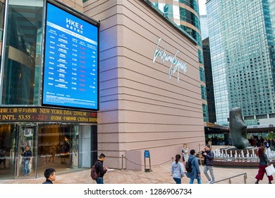 Hong Kong, China- December 18, 2018: Hong Kong Exchange Square building in Central District