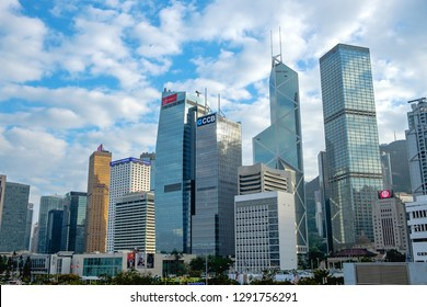 Hong Kong, China- December 18, 2018: Hong Kong financial district, Victoria Harbour, Hong Kong Island.