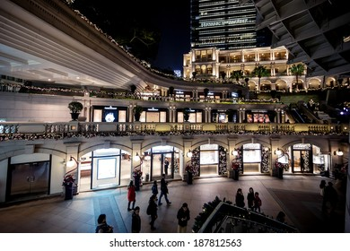 HONG KONG, CHINA - DECEMBER 21, 2013: Shopping mall at Christmas time at night in Kowloon District on December 21, 2013 in Hong Kong, China.