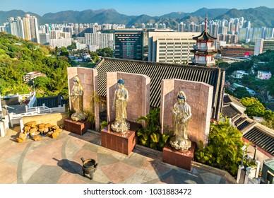 Hong Kong, China - December 27, 2017: View of Statues at Po Fook Hill Columbarium at Sha Tin