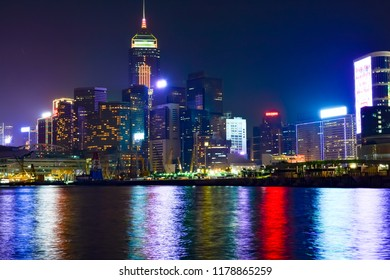 Hong Kong, China - December 30 2015:  Hong Kong Island in the south from the mainland to the north. The harbor's deep, sheltered waters and strategic locations on the South China Sea were instrumental