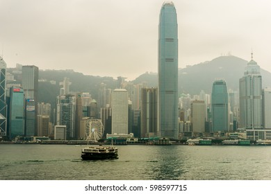 Hong Kong, China - Feb 04, 2017: Hong Kong Victoria Harbour in China, Hong Kong