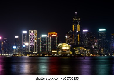 Hong Kong, China - FEB 10, 2017: A Symphony of Lights is a daily light and sound show in Hong Kong