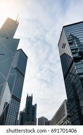 Hong Kong, China - FEB 10, 2017:  - Modern office buildings in Central Hong Kong.