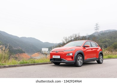Hong Kong, China Feb 25, 2019 : Hyundai KONA EV 2019 Test Drive Day Feb 25 2019 in Hong Kong.