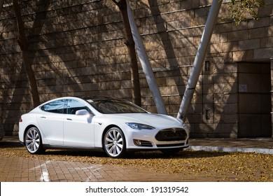 Hong Kong, China Feb 6, 2013 : Tesla Model S Electronic Car test drive on Feb 6 2013 in Hong Kong.