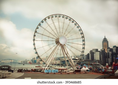 HONG KONG, CHINA - FEB 6:  Ferris wheel on February 6, 2016. Hong Kong dollar is the eighth most traded currency in the world.