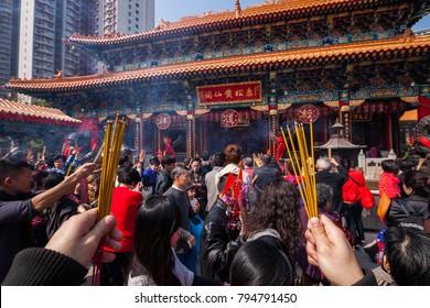 Hong Kong, China - February 3, 2011: Burning of incense sticks. Chinese New Year. Hong Kong, China