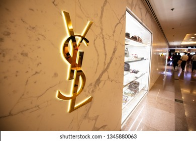 Hong Kong, China - February 6, 2019:YSL Store in Tsimshatsui, Hong Kong. The short name of YSL (Yves Saint Laurent), the famous luxury brand in France, mainly includes fashion, skin care products.