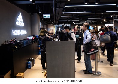 Hong Kong, China - February 6, 2019:ADIDAS Store in Tsim Sha Tsui, Hong Kong. Adidas (adidas), founded in 1949, is a member company of the German sporting goods manufacturer Adidas AG.