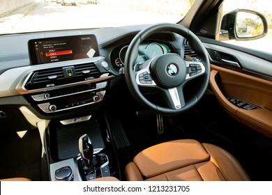 Hong Kong, China Jan 11, 2018 : BMW X3 M40i 2018 Interior Jan 11 2018 in Hong Kong.