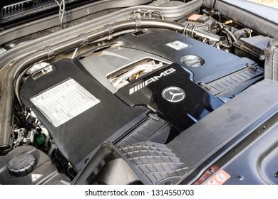 Hong Kong, China Jan 28, 2019 : Mercedes-AMG G 63 2019 Engine Jan 28 2019 in Hong Kong.