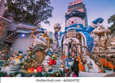 HONG KONG, CHINA - JAN 3: Christmas decorations in the streets on Jan 3, 2017 in Hong Kong. Hongkong is an international metropolis,Western culture has a strong.