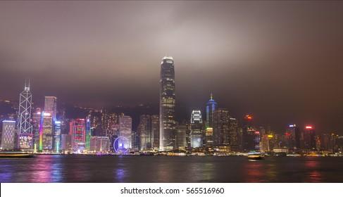 Hong Kong, China. January 15, 2017. A view of the city by night