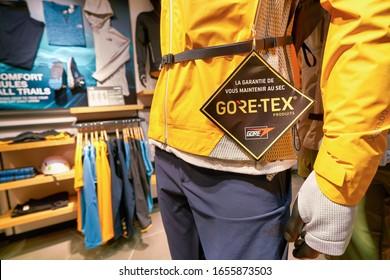HONG KONG, CHINA - JANUARY 23, 2019: close up shot of Gore-Tex sign seen at The North Face store at New Town Plaza shopping mall in Sha Tin.