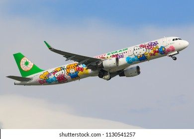 "Hong Kong, China. July 1, 2018. EVA Airways Airbus A321-211(WL) Reg. B-16207 ""Hello Kitty"" special livery Taking Off from Hong Kong International Airport to Taipei, Taiwan with Blue Sky"