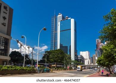 Hong Kong, China - July 1st. 2016 - Building in the streets of downtown Hong Kong in China, Asia.