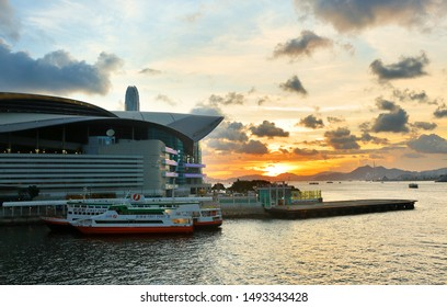 Hong Kong China - July 2, 2019: Hong Kong Convention and Exhibition Centre at sunset. The center is located in Wan Chai North, Hong Kong Island. Built along the Victoria Harbour,