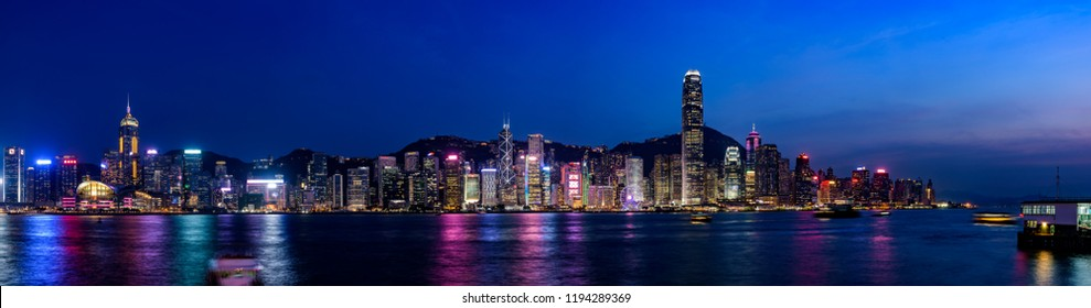 HONG KONG, CHINA - JULY, 2017 : Hong Kong cityscape at magic hour time. Hong Kong is an autonomous territory on the Pearl River Delta of China.
