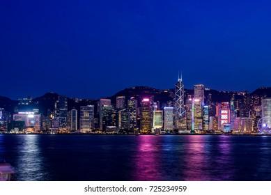 HONG KONG, CHINA - JULY, 2017 : Hong Kong cityscape at magic hour time. Hong Kong is an autonomous territory on the Pearl River Delta of China.