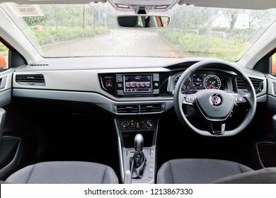 Hong Kong, China July 23, 2018 : Volkswagen Polo 2018 Interior July 23 2018 in Hong Kong.
