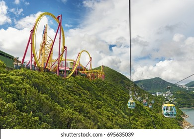 Hong Kong, China - July 24, 2017 : Cablecar in Ocean Park, Hongkong. Cable car carries tourists up to the entertainment park. Ocean Park also a center for giant panda breeding.