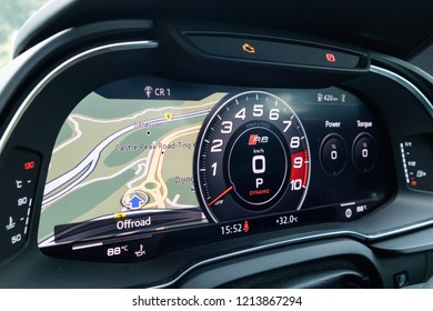 Hong Kong, China July 3, 2018 : Audi R8 2018 Dashboard July 3 2018 in Hong Kong.