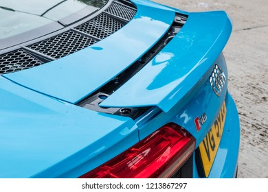 Hong Kong, China July 3, 2018 : Audi R8 2018 Rear Wing July 3 2018 in Hong Kong.