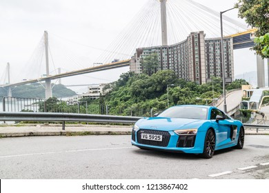 Hong Kong, China July 3, 2018 : Audi R8 2018 Test Drive Day July 3 2018 in Hong Kong.