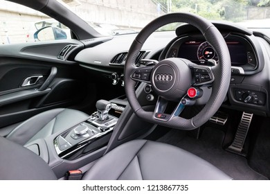 Hong Kong, China July 3, 2018 : Audi R8 2018 Interior July 3 2018 in Hong Kong.