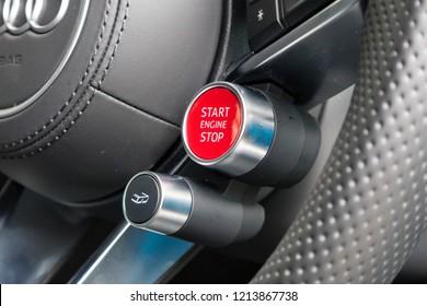 Hong Kong, China July 3, 2018 : Audi R8 2018 Engine Start July 3 2018 in Hong Kong.