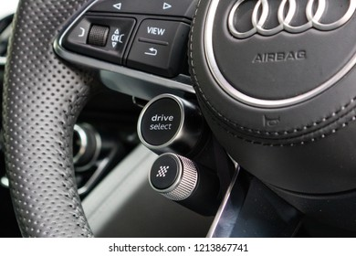 Hong Kong, China July 3, 2018 : Audi R8 2018 Drive Mode Button July 3 2018 in Hong Kong.