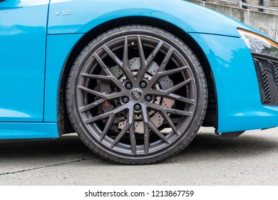 Hong Kong, China July 3, 2018 : Audi R8 2018 Wheel July 3 2018 in Hong Kong.