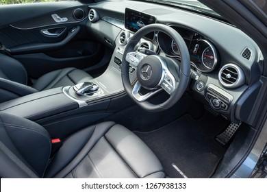 Hong Kong, China July 31, 2018 : Mercedes-Benz C-Class 2018 Interior July 31 2018 in Hong Kong.