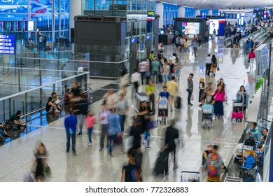 Hong Kong, China - Jun 22, 2017: Travellers in the Kong Kong International Airport. It is one of the busiest passenger airports in the world.
