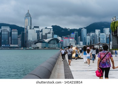 Hong Kong, China, June 02, 2019: Tourists visiting the Avenue of the Stars. The Avenue of Stars is located along the Victoria Harbor in Hong Kong. And reopen in 2019