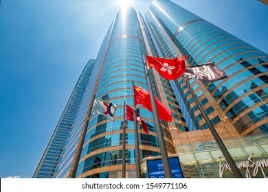 Hong Kong, China - June 14 2019: Two Exchange Square in Central district. Hong Kong Stock Exchange (SEHK) is located in the this building. It is Asia's second largest stock exchange.