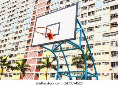 Hong Kong, China - June 24, 2019 : Colorful Basketball Court in Choi Hung oldest public housing estates in Hong Kong.