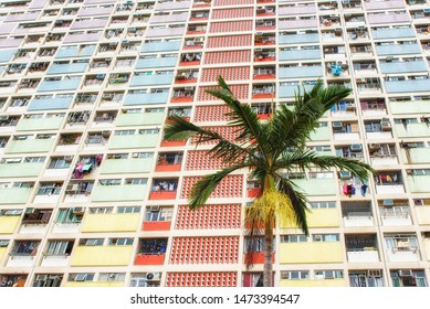 Hong Kong, China - June 24, 2019 : Choi Hung Estate Hong Kong is a residential building complex that has become popular due to its bright and colourful rainbow exterior.