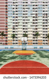 Hong Kong, China - June 24, 2019 : Choi Hung or literally `Rainbow Estate` is one of the oldest public housing estates in Hong Kong. Located in the Wong Tai Sin District of Kowloon