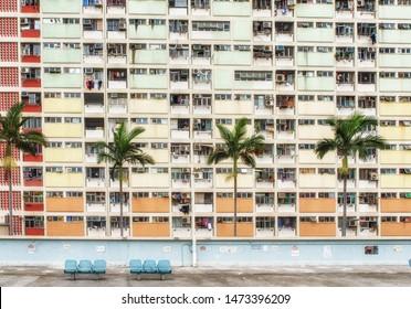 Hong Kong, China - June 24, 2019 : Hong Kong, China - June 24, 2019 : Colorful Basketball Court in Choi Hung oldest public housing estates in Hong Kong.